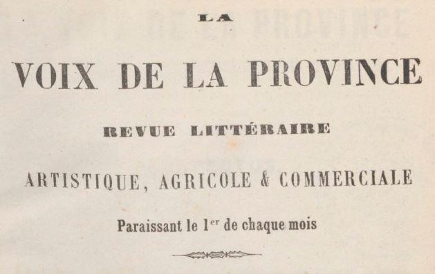 Photo (BnF / Gallica) de : La Voix de la province. Limoges, 1862-1863. ISSN 2140-1535.