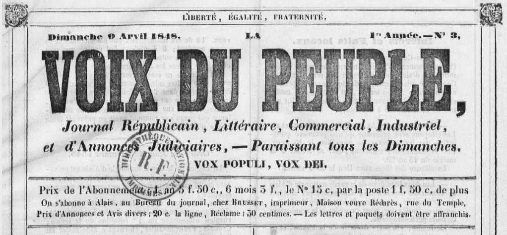 Photo (BnF / Gallica) de : La Voix du peuple. Alais : au bureau du journal, chez Brusset, imprimeur, 1848. ISSN 2140-2582.