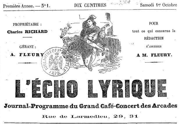 Photo (BnF / Gallica) de : L'Écho lyrique. Toulon: Impr. de H. Vincent, 1864. ISSN 2126-709X.