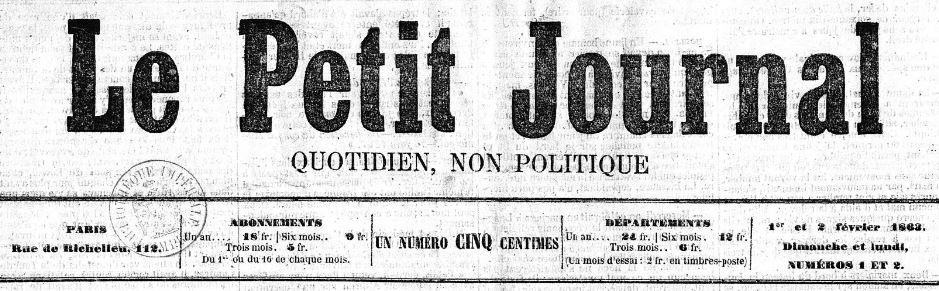 Photo (BnF / Gallica) de : Le Petit journal. Paris, 1863-1944. ISSN 1256-0464.