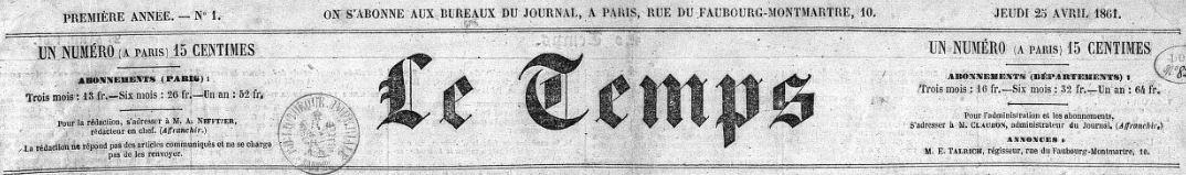 Photo (BnF / Gallica) de : Le Temps. Paris, 1861-1942. ISSN 1150-1073.