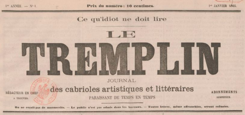 Photo (BnF / Gallica) de : Le Tremplin. Marseille, 1865. ISSN 2260-1589.