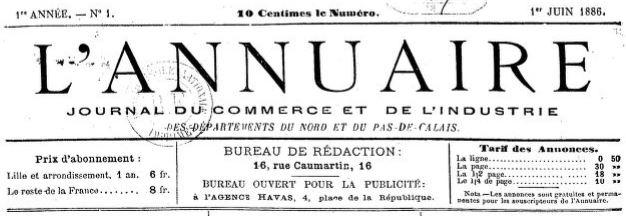 Photo (BnF / Gallica) de : L'Annuaire. Lille, 1886-[1889 ?]. ISSN 2120-8719.