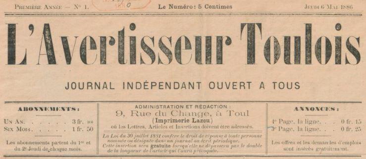 Photo (BnF / Gallica) de : L'Avertisseur toulois. Toul, 1886. ISSN 1960-4262.