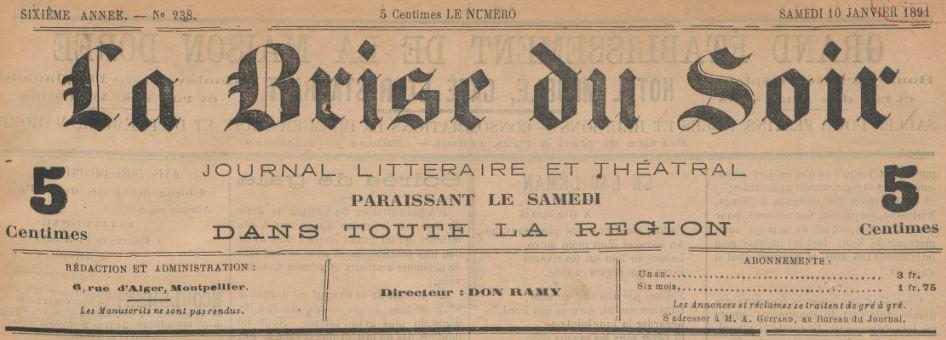 Photo (BnF / Gallica) de : La Brise du soir. Montpellier, 1886-[1904 ?]. ISSN 2016-1719.