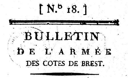 Photo (BnF / Gallica) de : Bulletin de l'armée des côtes de Brest. Nantes: Brun aîné, 1793. ISSN 2122-451X.