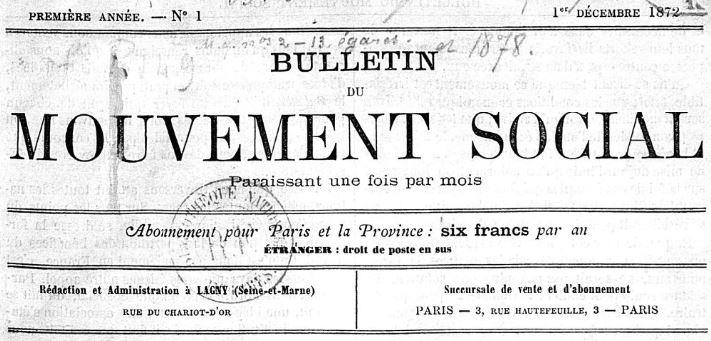 Photo (BnF / Gallica) de : Bulletin du mouvement social. Lagny, Paris, 1872-1879. ISSN 1255-4413.