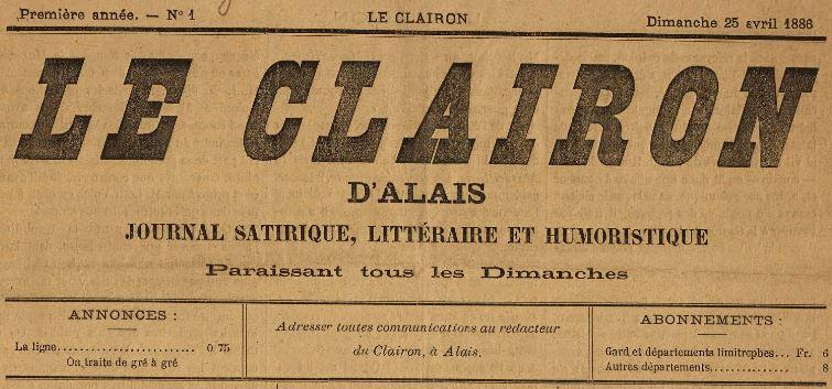 Photo (BnF / Gallica) de : Le Clairon d'Alais. Alais, 1886. ISSN 2123-9584.
