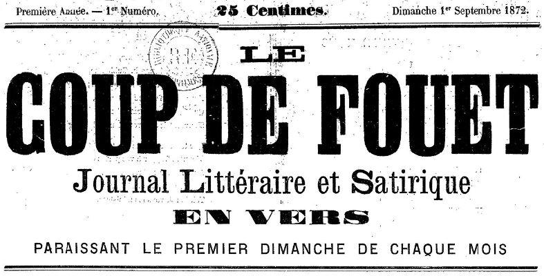 Photo (BnF / Gallica) de : Le Coup de fouet. Lyon, 1872. ISSN 2124-6041.
