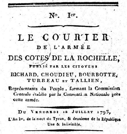 Photo (BnF / Gallica) de : Le Courier de l'Armée des côtes de La Rochelle. Angers: impr. Charles-Pierre Mame, 1793. ISSN 2124-6165.