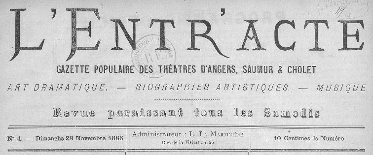 Photo (BnF / Gallica) de : L'Entracte. Angers, 1886-[1887 ?]. ISSN 2127-3375.
