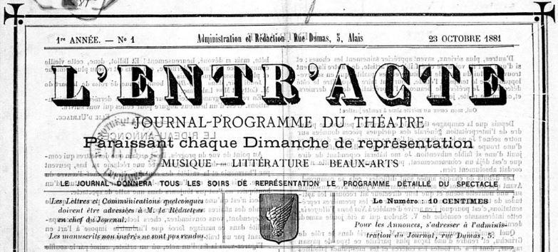 Photo (BnF / Gallica) de : L'Entr'acte. Alais, 1881-[1882 ?]. ISSN 2127-3219.