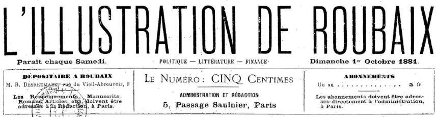 Photo (BnF / Gallica) de : L'Illustration de Roubaix. Paris, 1881. ISSN 2129-2647.