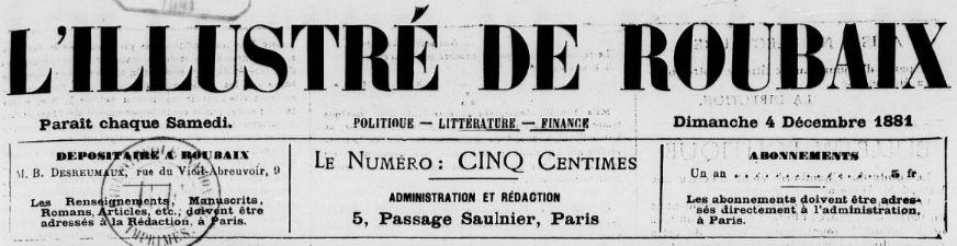 Photo (BnF / Gallica) de : L'Illustré de Roubaix. Paris, 1881-1882. ISSN 2129-2922.