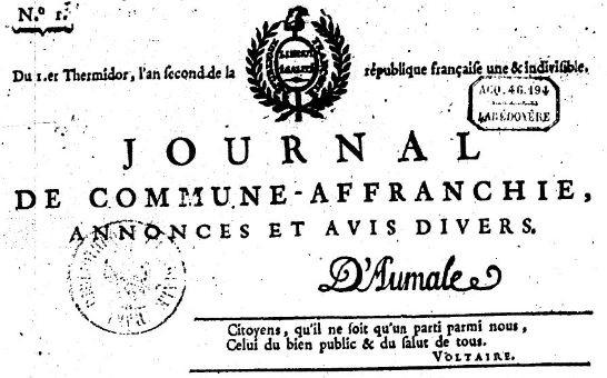 Photo (BnF / Gallica) de : Journal de Commune-Affranchie. Lyon, 1794. ISSN 2130-3371.