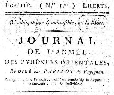Photo (BnF / Gallica) de : Journal de l'Armée des Pyrénées-Orientales. Perpignan: Pourtet, 1794-1795. ISSN 2130-3940.