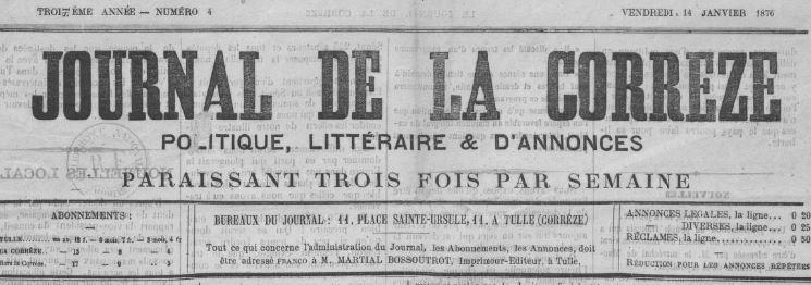 Photo (BnF / Gallica) de : Journal de la Corrèze. Tulle, 1876. ISSN 2130-4297.