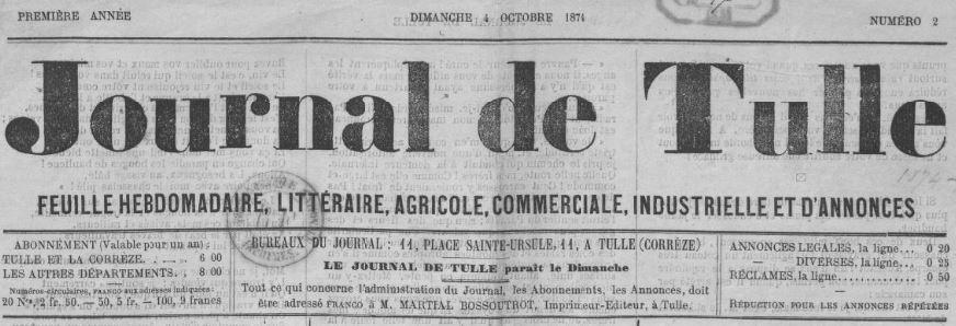 Photo (BnF / Gallica) de : Journal de Tulle. Tulle, 1874-1876. ISSN 2130-663X.