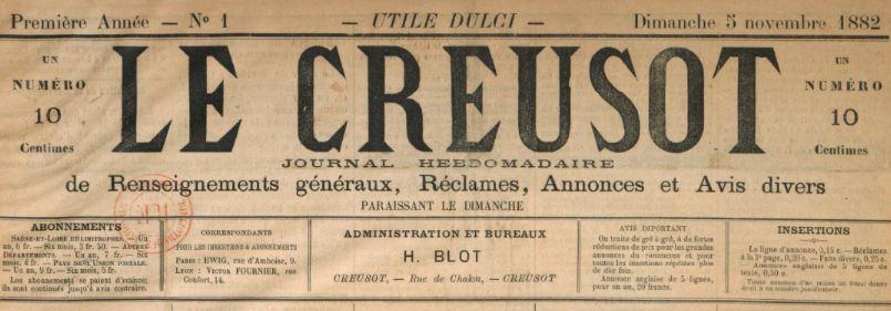 Photo (BnF / Gallica) de : Le Creusot. Le Creusot, 1882-[1882 ?]. ISSN 2131-1927.