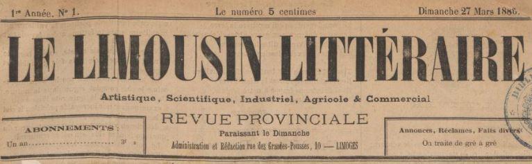 Photo (BnF / Gallica) de : Le Limousin littéraire. Limoges, 1886-1888. ISSN 2017-4446.