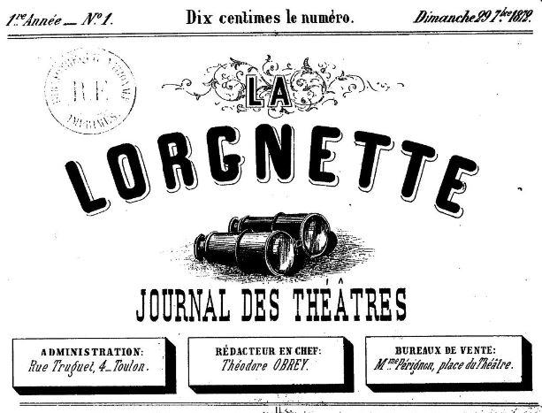 Photo (BnF / Gallica) de : La Lorgnette. Toulon, 1872-1873. ISSN 2131-5523.