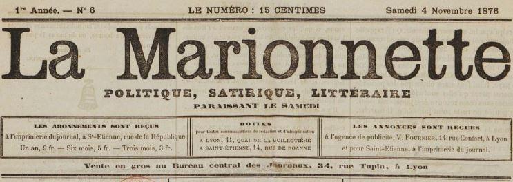 Photo (BnF / Gallica) de : La Marionnette. Saint-Étienne, Lyon, 1876. ISSN 2131-8220.