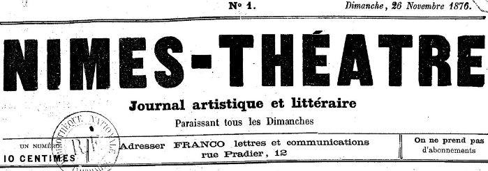 Photo (BnF / Gallica) de : Nîmes-théâtre. Nîmes, 1876-1877. ISSN 2132-8617.