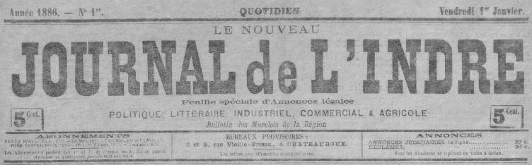 Photo (BnF / Gallica) de : Le Nouveau journal de l'Indre. Châteauroux, 1886. ISSN 1959-9285.