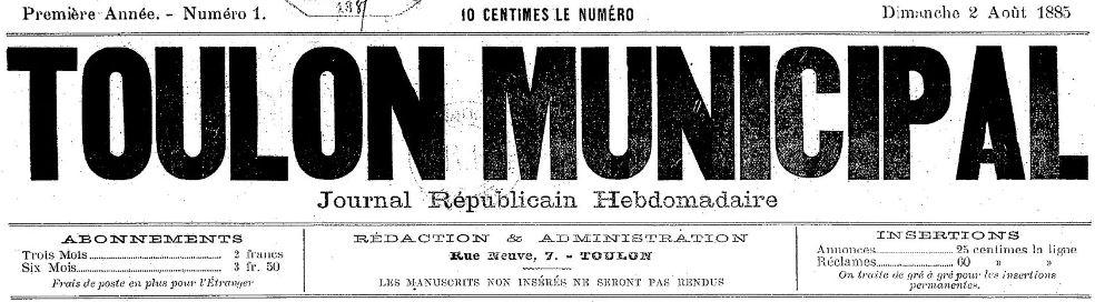 Photo (BnF / Gallica) de : Toulon municipal. Toulon, 1885. ISSN 2018-3887.