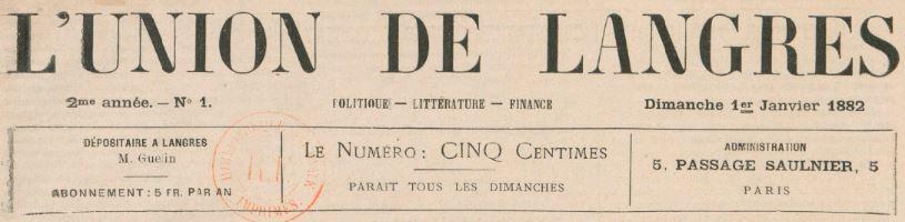 Photo (BnF / Gallica) de : L'Union de Langres. Paris, 1882. ISSN 2139-3265.