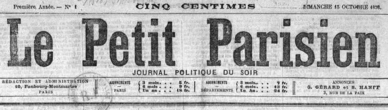 Photo (BnF / Gallica) de : Le Petit Parisien. Paris: Le Petit Parisien, 1876-1944. ISSN 0999-2707.