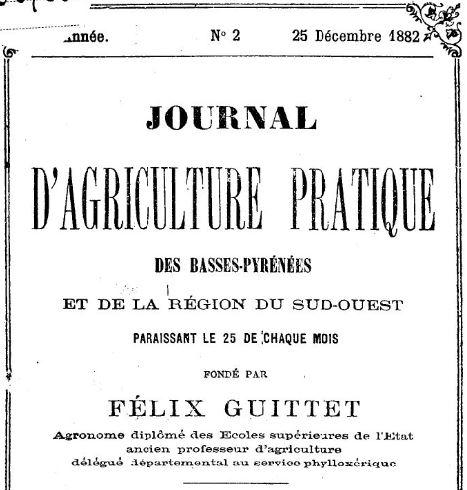 Photo (BnF / Gallica) de : Journal d'agriculture pratique des Basses-Pyrénées et de la région du Sud-Ouest. Pau, 1879-1893. ISSN 2016-9795.