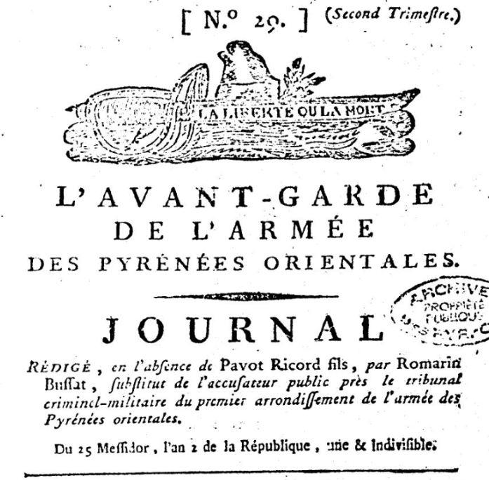 Photo (BnF / Gallica) de : L'Avant-garde de l'Armée des Pyrénées-Orientales. Perpignan: Impr. de Pourtet, 1794. ISSN 2121-2325.