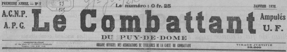 Photo (BnF / Gallica) de : Le Combattant du Puy-de-Dôme. Clermont-Ferrand, 1935-1940. ISSN 2124-1465.