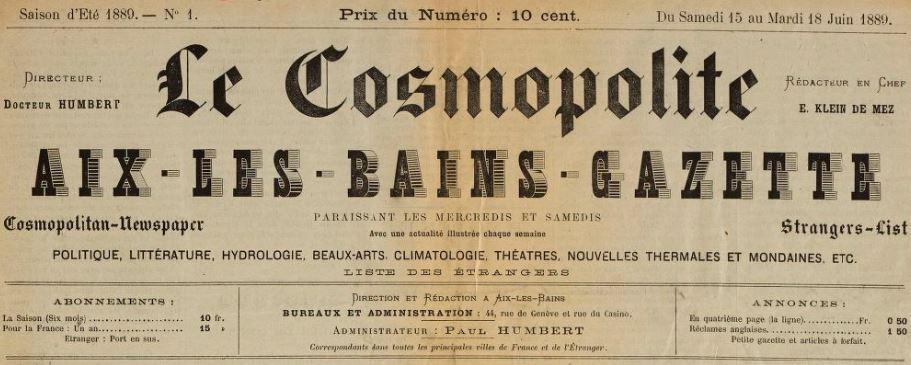 Photo (BnF / Gallica) de : Le Cosmopolite. Aix-les-Bains, 1889. ISSN 2124-5452.