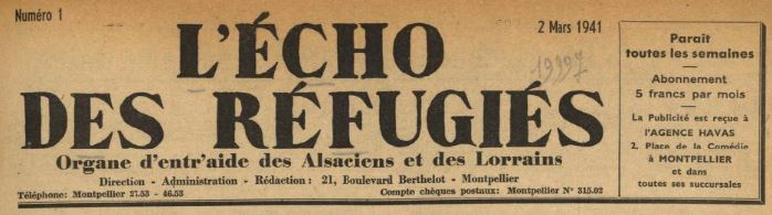 Photo (BnF / Gallica) de : L'Écho des réfugiés. Montpellier, 1941-1943. ISSN 2024-1208.