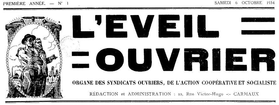 Photo (BnF / Gallica) de : L'Éveil ouvrier. Carmaux, 1934-1939. ISSN 2127-6455.