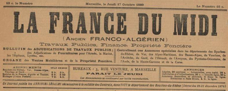 Photo (BnF / Gallica) de : La France du Midi. Marseille, 1889-1890. ISSN 2128-2536.