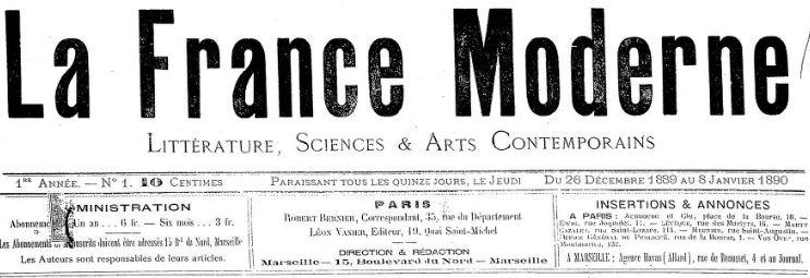 Photo (BnF / Gallica) de : La France moderne. Marseille, 1889-1893. ISSN 2128-2811.
