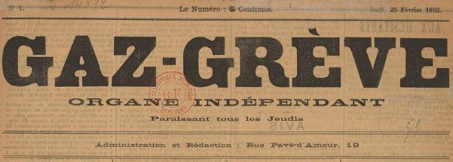 Photo (BnF / Gallica) de : Gaz-grève. Marseille, 1892. ISSN 2128-5136.