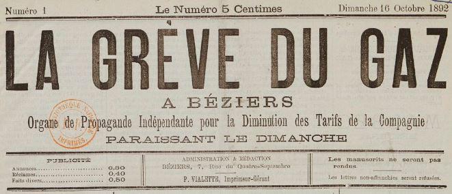 Photo (BnF / Gallica) de : La Grève du gaz à Béziers. Béziers, 1892. ISSN 2129-0113.