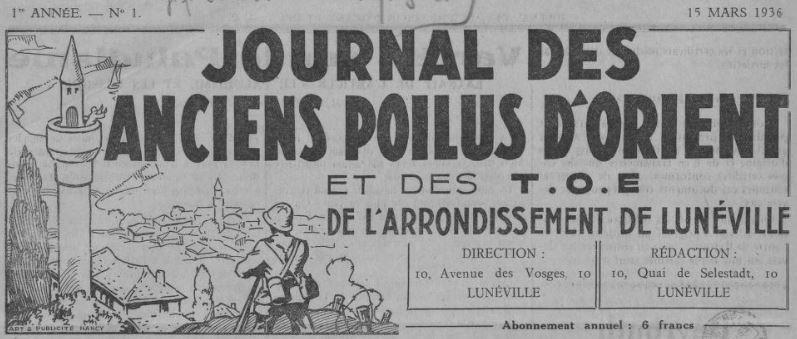 Photo (BnF / Gallica) de : Journal des Anciens poilus d'Orient et des TOE de l'arrondissement de Lunéville. Lunéville, 1936-[1939?]. ISSN 1966-3633.