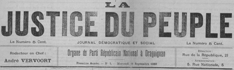 Photo (BnF / Gallica) de : La Justice du peuple. Draguignan, 1889. ISSN 2131-0602.