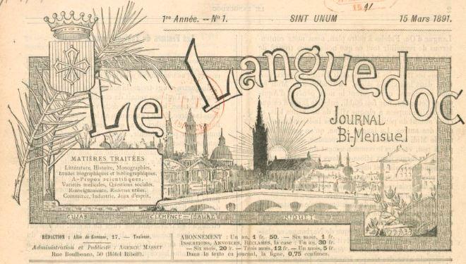 Photo (BnF / Gallica) de : Le Languedoc. Toulouse, 1891-[1903 ?]. ISSN 2131-1269.