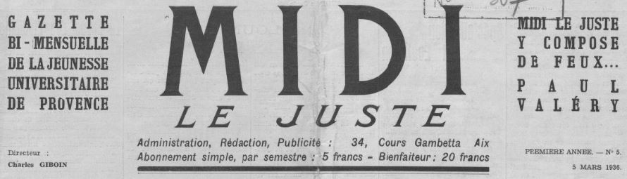 Photo (BnF / Gallica) de : Midi le juste. Aix-en-Provence, [1936 ?]. ISSN 2132-2325.