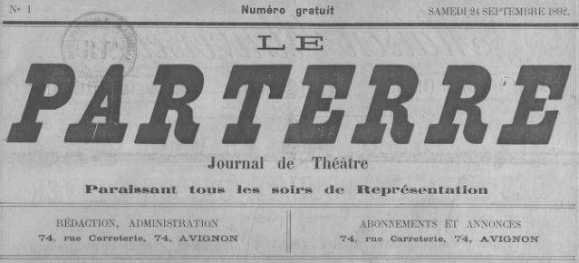 Photo (BnF / Gallica) de : Le Parterre. Avignon, 1892-[1893 ?]. ISSN 2133-5893.