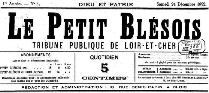 Photo (BnF / Gallica) de : Le Petit Blésois. Blois, 1892-1895. ISSN 2133-9767.