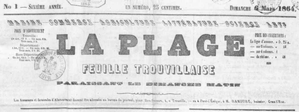 Photo (BnF / Gallica) de : La Plage. Trouville-sur-Mer, [1859 ?]-1903. ISSN 2134-9975.