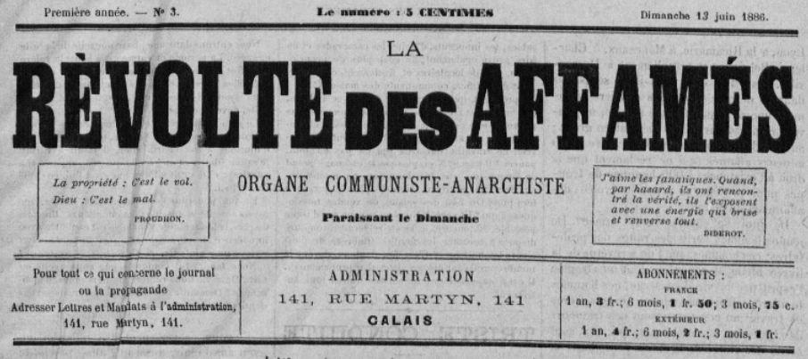 Photo (BnF / Gallica) de : La Révolte des affamés. Calais, 1886. ISSN 2137-2209.