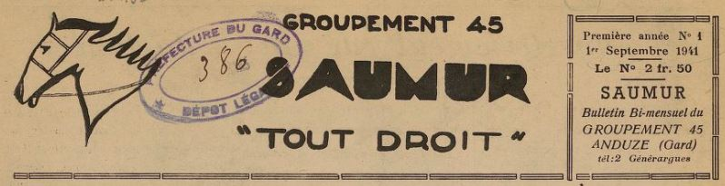 Photo (BnF / Gallica) de : Saumur. Anduze, 1941-[1942?]. ISSN 2137-8150.